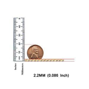 "TGDJ Accessories - 14k Yellow 2.2 mm Cuban Concave Chain - 16"""
